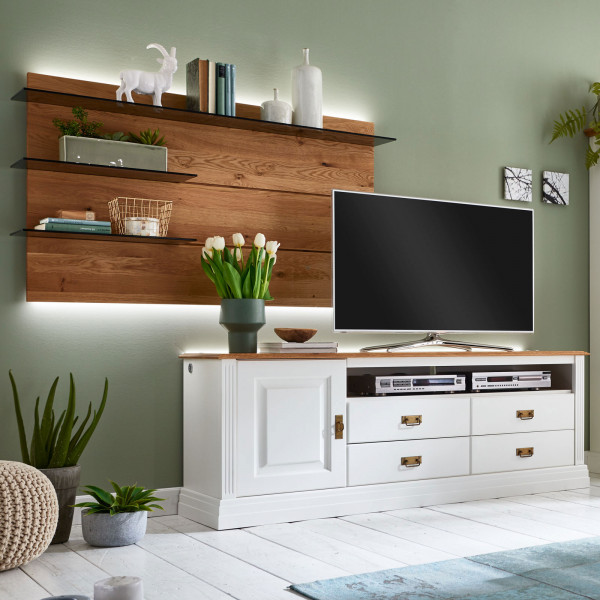 TV Lowboard Fernsehschrank Set Novara links Lowboard + Wandpaneel Pinie Nordica weiß Wildeiche massi