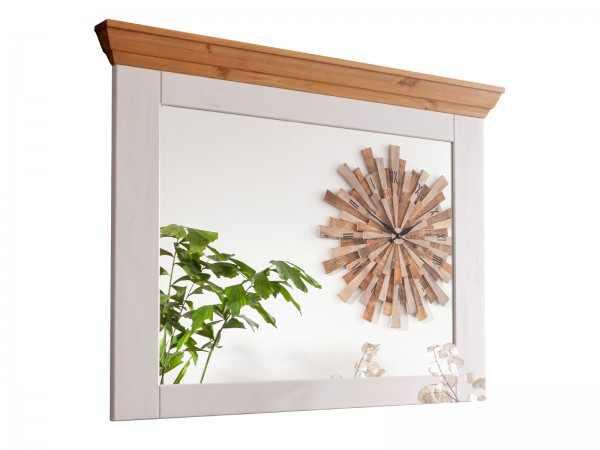 Wandspiegel mit Massivholzrahmen u. Kranz ca. 109 cm breit Milan Pinie Nordica weiß gewachst
