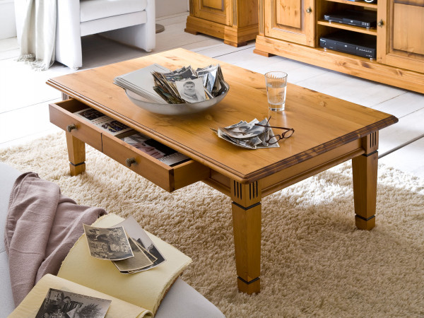 Couchtisch Wohnzimmer Tisch Florenz 130 x 75 cm Pinie Nordica massiv sierra