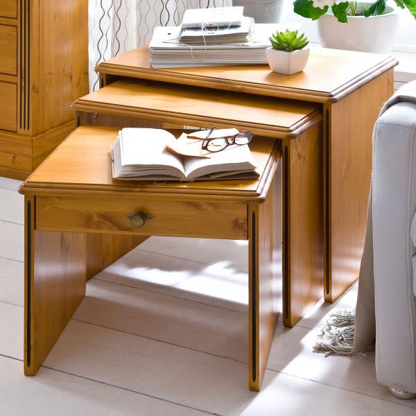 3-Satz-Tisch-Set Beistelltische Florenz 3 Tische in verschiedenen Größen Pinie Nordica massiv