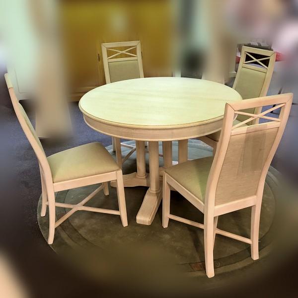 Essgruppe 5-tlg. Aussteller 4 Esszimmer-Stühle 1 Esstisch rund ausziehbar Pinie massiv lipizano