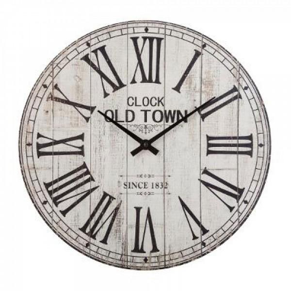 Wanduhr Wohnzimmeruhr Uhr rund ø 38 cm Vintage Motiv Dekor weiss