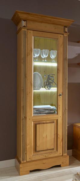 Glas-Vitrine Standvitrine Florenz 1-türig rechts oder links Pinie Nordica massiv sierra
