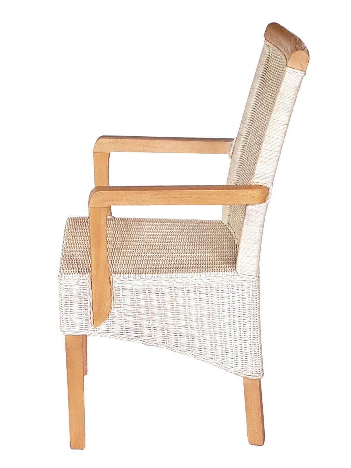 Rattanstuhl Weiß Armlehnen Perth Mitohne Esszimmer Leinen Mit Stuhl Sitzkissen OkXTPiZu