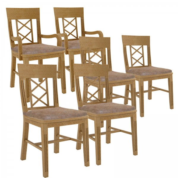 Esszimmer Stuhl Set 6 Stühle Massivholz 4 Stühle, 2 Armlehner Chalet Pinie massiv mit losen Kissen