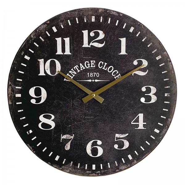Wanduhr Wohnzimmeruhr Uhr rund ø 38 cm Vintage Clock Dekor Motiv Antik schwarz