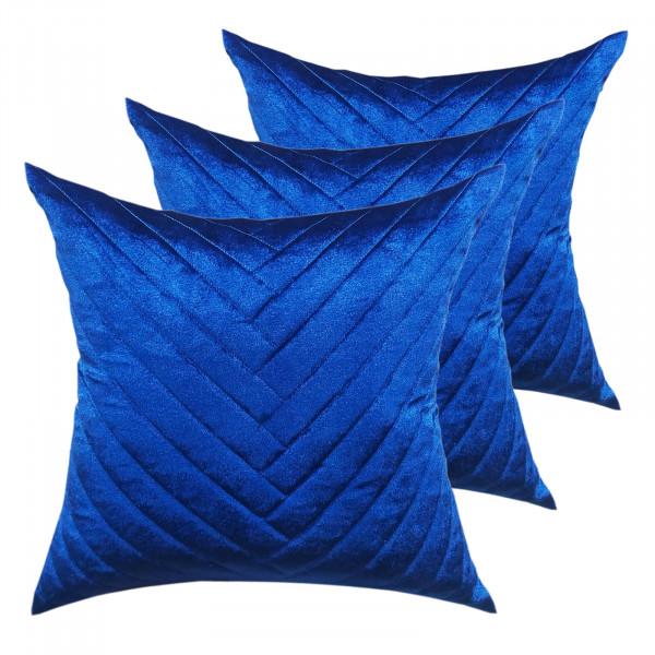 Deko Kissen Zierkissen Set 3 Stück Sofa Kissen Velour Samt 45 x 45 cm Streifendesgin royalblau