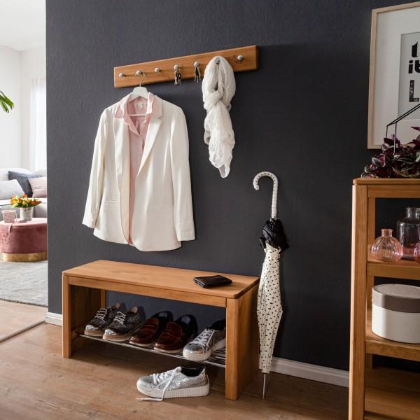 Garderobe Picco 3-teilig Garderoben Set Kleiderhakenleiste Schuhregal Standregal Pinie Nordica massi