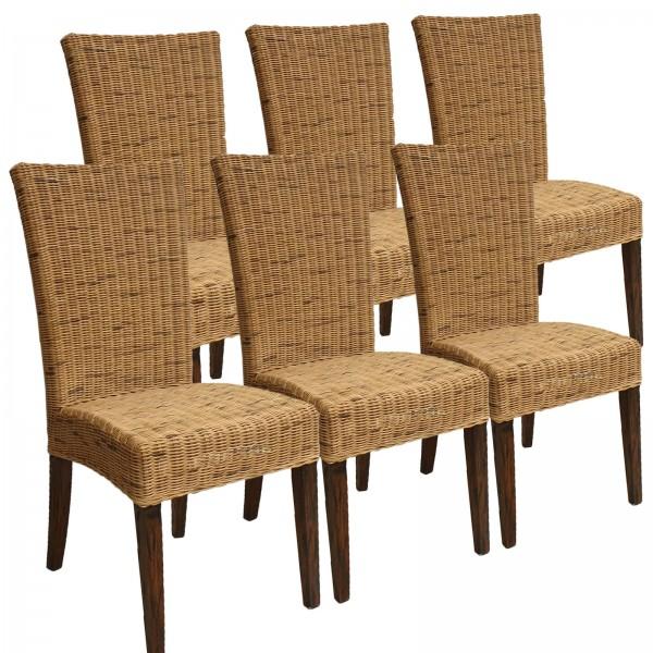 Esszimmer Stühle 6er Set Rattanstühle Wintergarten Korbstühle Cardine cabana Sitzkissen braun
