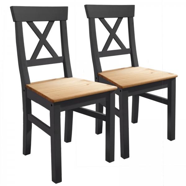 Esszimmer Stühle Massivholz Stühle 2 Stück Macra massiv Pinie Nordica grau gewachst