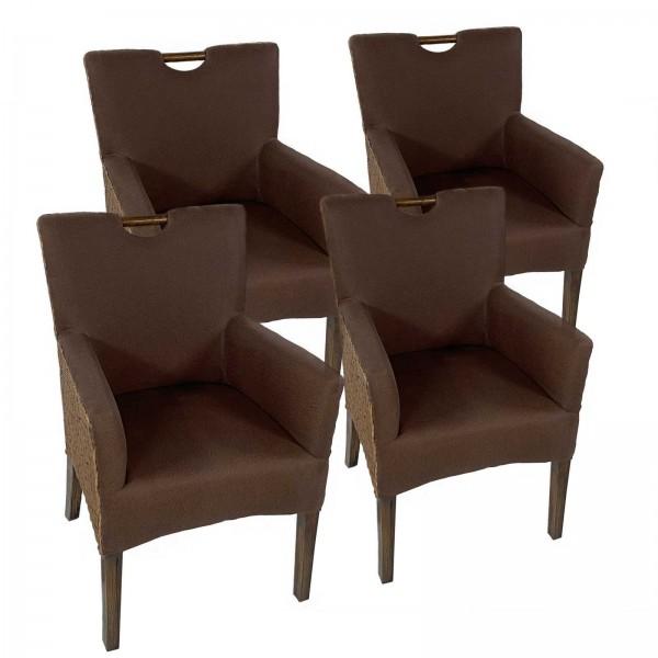 Esszimmer Stühle Set 4 Stück Rattan Armlehner Sessel Bilbao vollgepolstert Polster prairie brown