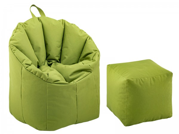 Sitzsessel Set Sitzsack ø 70 H 80 cm Relaxsessel Gaming-Sessel mit Hocker Big Bamba formstabil