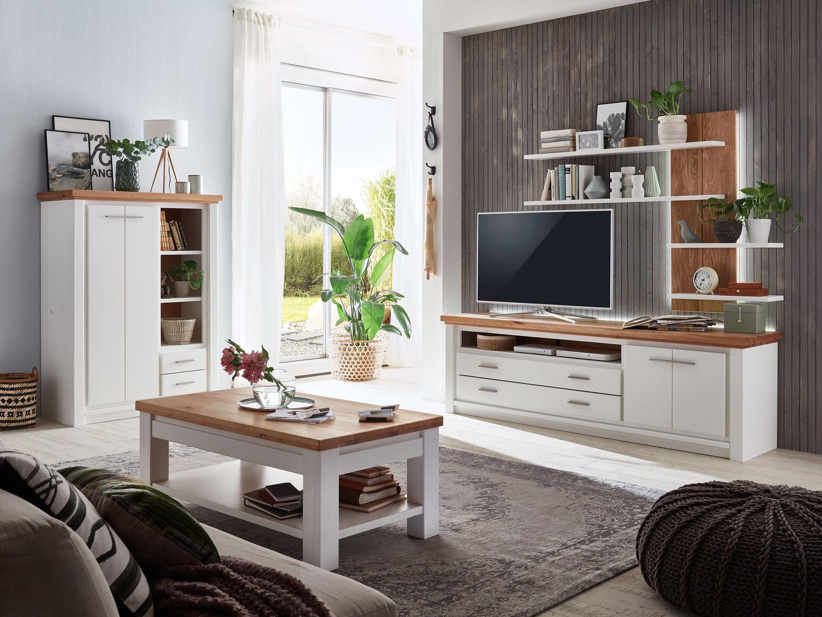 Tv Lowboard Set Mit Wand Regal Olbia 208x64x48 Cm Pinie Nordica Weiss Und Wildeiche Natur Geolt