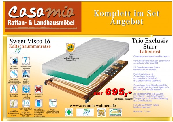 Set3 Lattenrost und Matratze SweetVisco