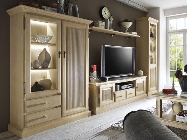 Wohnwand Wohnzimmer Schränke 4-teilig Glas-Vitrine - TV-Schrank - Highboard - Wandboard Casapino