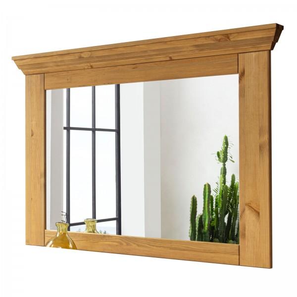 Wandspiegel Garderoben Spiegel mit Massivholzrahmen u. Kranz Torino Pinie Nordica massiv eichefarbig
