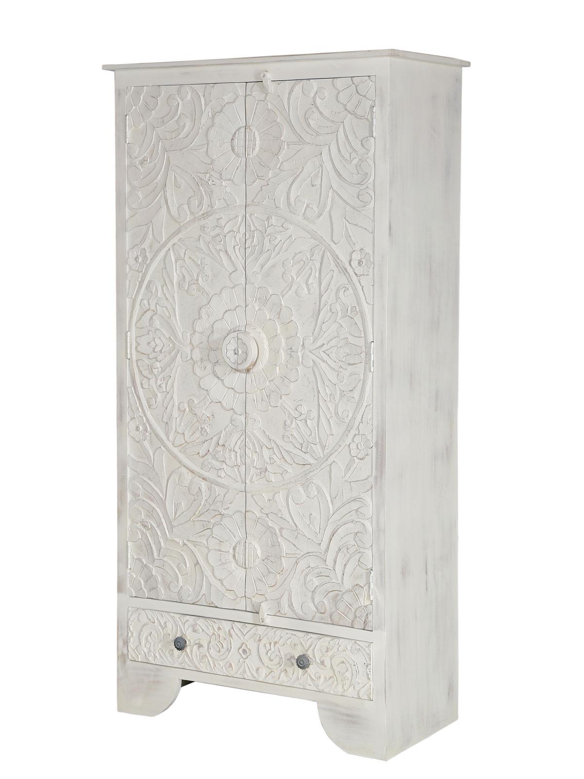 Kleiderschrank Weiß Mangoholz Massiv 90x180x45 Cm Handgeschnitzt