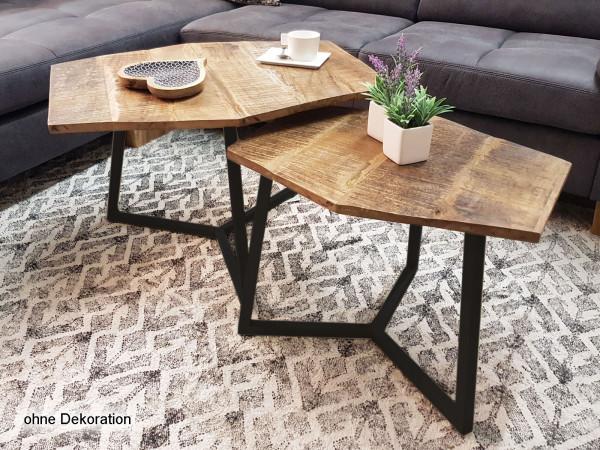 Couchtisch Set 2 Stück 2. Wahl Wohnzimmer Tisch Einschlüsse Satztisch Paris Metall-Gestell schwarz