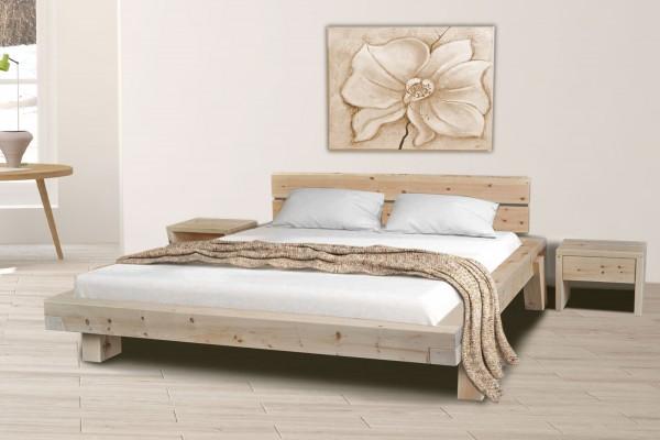 Zirbenholzbett Zirbenbett Balkenbett Bett Mia 1 90/100/120/140/160/180/200 x 200 cm Zirbe massiv