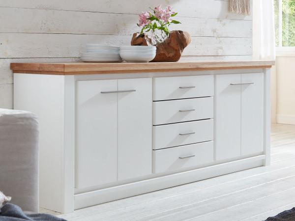 Sideboard Anrichte Olbia 208 x 79 x 48 cm Pinie Nordica weiß und Wildeiche natur geölt massiv