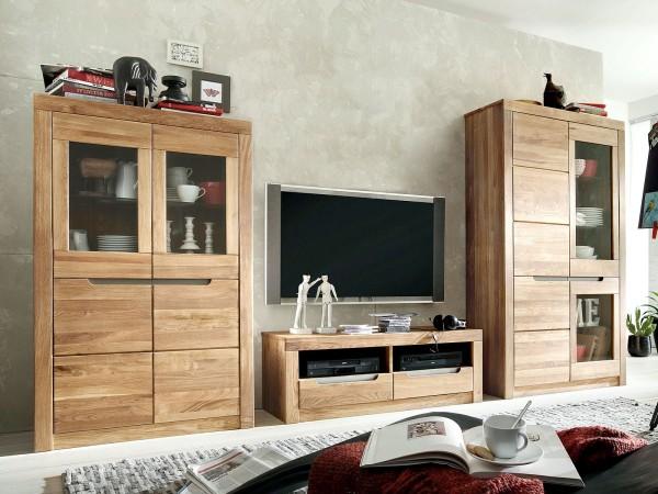 Wohnwand Ausstellung Wohnzimmer Schränke 3-teilig Bergen 2 Vitrinen Lowboard Wildeiche massiv