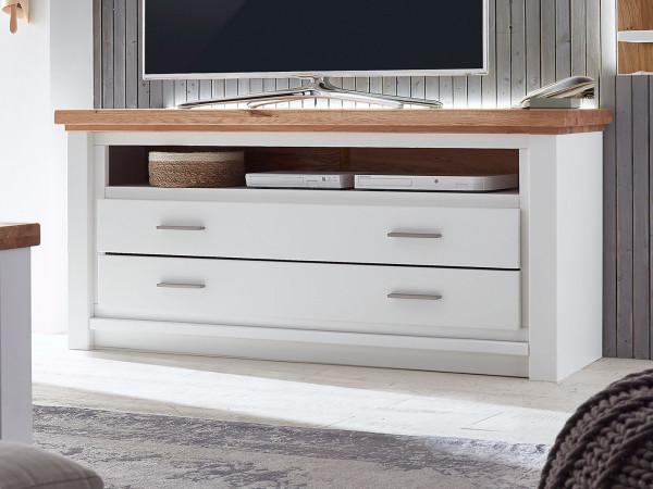 Fernsehschrank TV Lowboard Olbia 146x64x48 cm Pinie Nordica weiß und Wildeiche natur geölt massiv