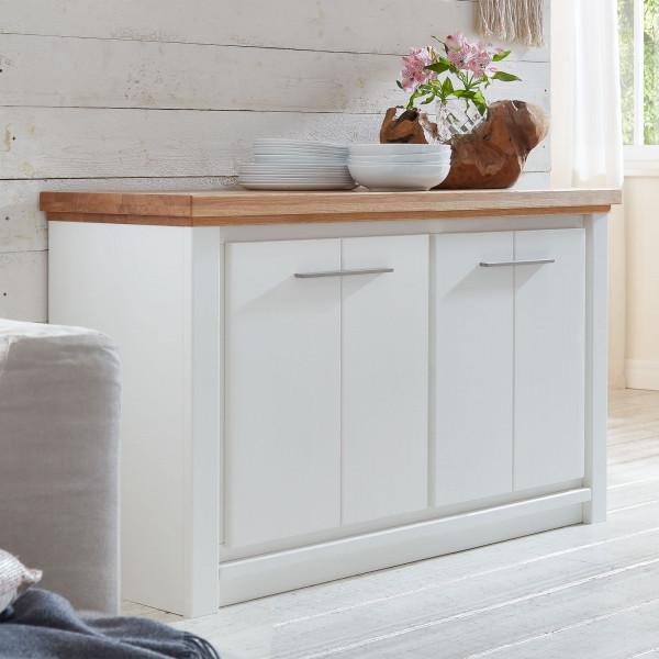 Anrichte Sideboard Olbia 146 x 79 x 48 cm Pinie Nordica weiß und Wildeiche natur geölt massiv