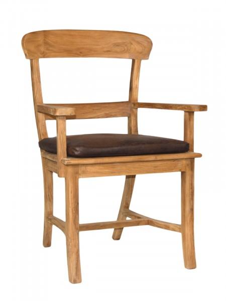 Stuhl mit Armlehnen Tanja mit Holzsitzfläche Teakholz gebürstet unbehandelt