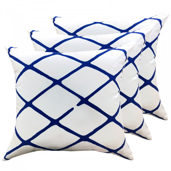 Zierkissen Set 3 Stück Deko Kissen Sofa Kissen Baumwolle 45 x 45 cm Karo-Design weiß blau
