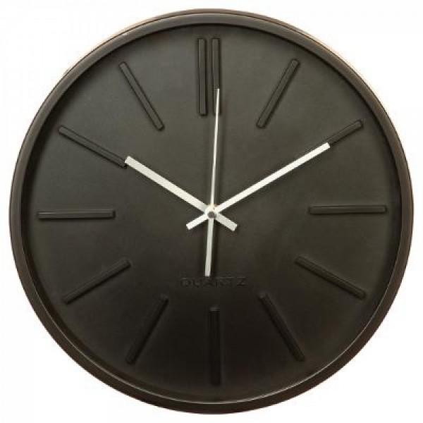 Wanduhr Wohnzimmeruhr Uhr rund ø 35,5 cm geräuscharm schlichtes Design schwarz