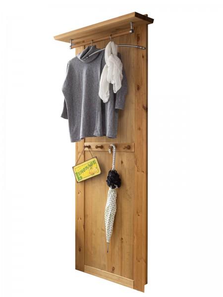 Wand Garderobe mit Hutablage u. Kleiderstange Garderobenpaneel Torino Pinie Nordica massiv eichefarb