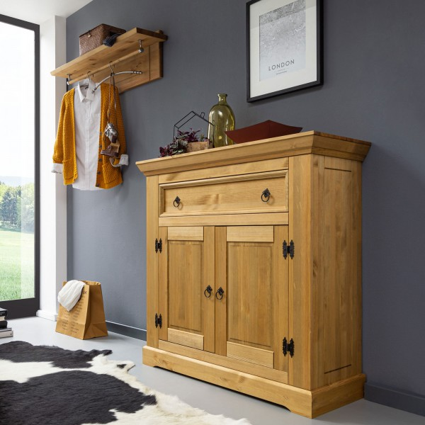 Garderoben Set 2-teilig Schuhschrank Hutablage und Kleiderstange Torino Pinie Nordica eichefarbig