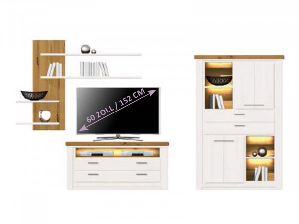 Wohnwand Olbia Highboard Fernsehschrank Wandregal Pinie Nordica weiß und Wildeiche natur geölt
