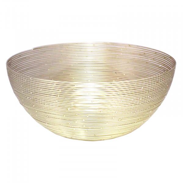 Deko Schale Obstschale Brotkorb rund ø 30 o. 40 cm in edler Drahtstruktur Aluminium gold