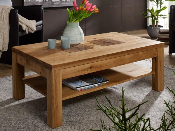 Couchtisch Massivholz Wohnzimmer Tisch mit Ablage B 118 H 45 T 70 cm Waldeiche Wildeiche massiv