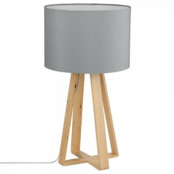 Tischlampe Deko Lampe ø 25,5 x H 47,5 cm Tischleuchte weiss/grau/pink mit Holzfuß Birke