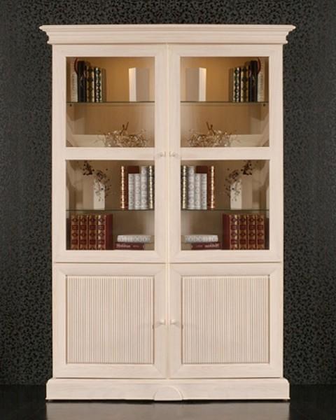 Vitrine Glasvitrine Standvitrine 4-türig Terrano 2 Glastüren und 2 Holztüren mit Wellenprofil