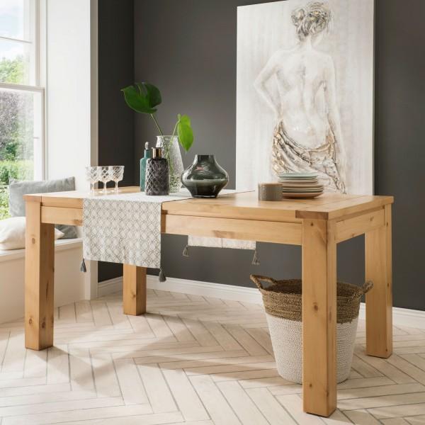Esstisch Massivholz mit Auszug Verona 160/200 x 90/100 cm, Pinie Nordica lackiert