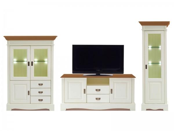 Wohnwand Wohnzimmer Schrank Set Padua 3-teilig B 367 x H 204 x T 49 cm Pinie Nordica massiv