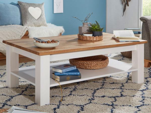 Couchtisch Wohnzimmer Tisch Bari rechteckig 120 x 70 cm Pinie Nordica weiß