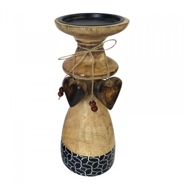 Kerzenständer groß mit 2 Deko Herzen H 25 cm Mangoholz mit Keramikdekor