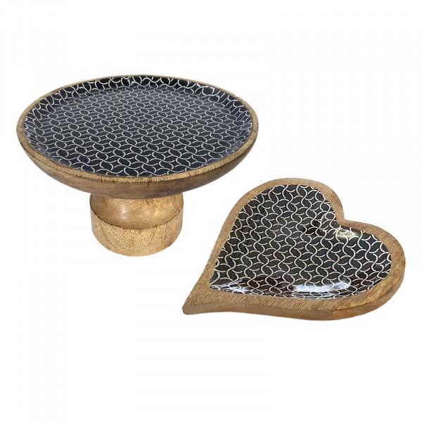 Tortenplatten Set mit Fuß und 1 Knabberteller Herz Mangoholz mit Keramikdekor lebensmittelgeeignet