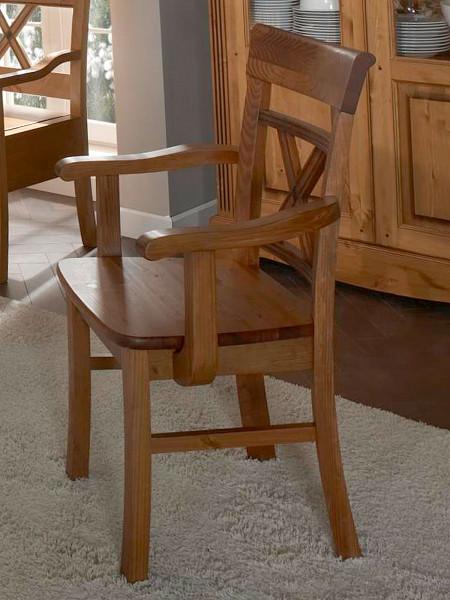 Esszimmer Stuhl mit Armlehnen Florenz mit Massivholz-Sitzfläche mit/ohne Sitzkissen