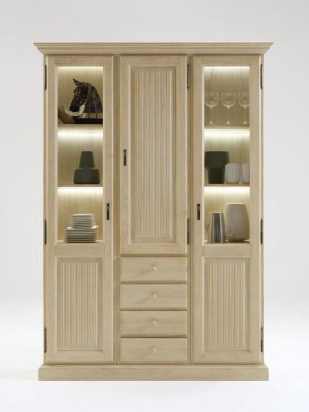 Vitrine Glas-Vitrine Standvitrine Casapino 3 Türen und 4 Schubladen Pinie massiv