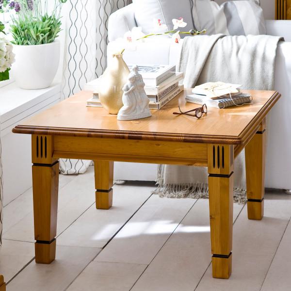 Couchtisch Wohnzimmer Tisch Florenz 75 x 75 cm Pinie Nordica massiv sierra