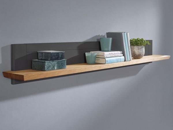 Wandbord Bücher-Regal Bücherbord Macra 161 cm breit Pinie Nordica grau gewachst