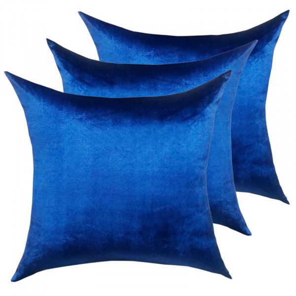 Deko Kissen Zierkissen Set 3 Stück Sofa Kissen Velour Samt 45 x 45 cm glatte Oberfläche royalblau