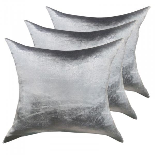 Deko Kissen Zierkissen Set 3 Stück Sofa Kissen Velour Samt 45 x 45 cm glatte Oberfläche silbergrau
