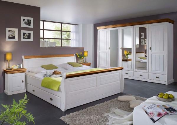 Schlafzimmer Set Napoli 5-türiger Kleiderschrank Bett 180x200 u. 2 Nachtkonsolen Pinie Nordica weiss