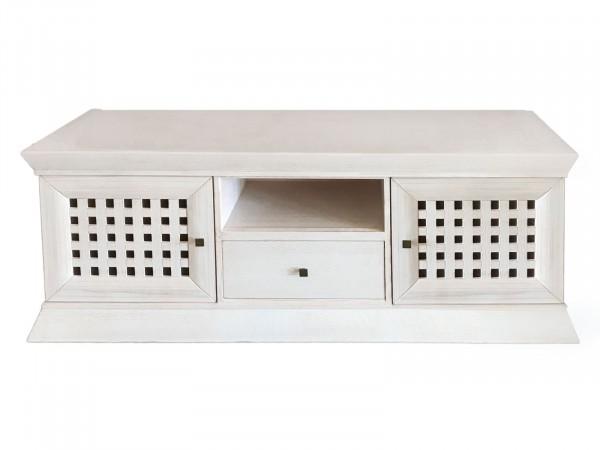 TV Lowboard Fernsehschrank New Quadro, Pinie massiv weiß gekälkt